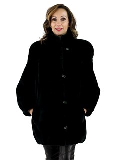 Black Olive Sheared Beaver Fur Jacket
