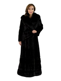 Ranch Female Mink Fur Coat with Sable Collar and Bottom