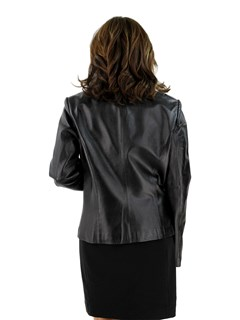 Black Leather Jacket with Silver Fox Detachable Collar
