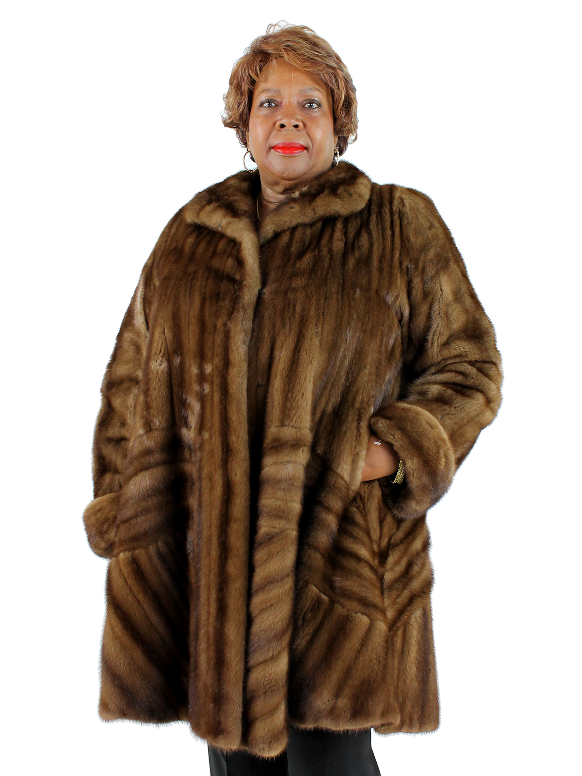 Woman's Plus Size Demi Buff Female Mink Fur Directional 7/8 Coat