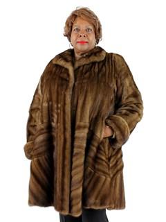 Woman's Plus Size Demi Buff Female Mink Fur Directional 7/8 Coat