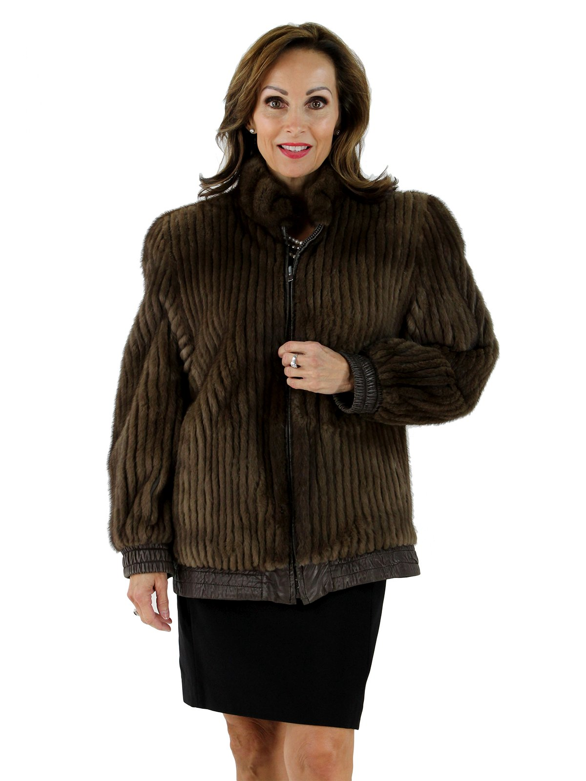 Lunaraine Mink Fur Cord Cut Jacket Reversible to Leather