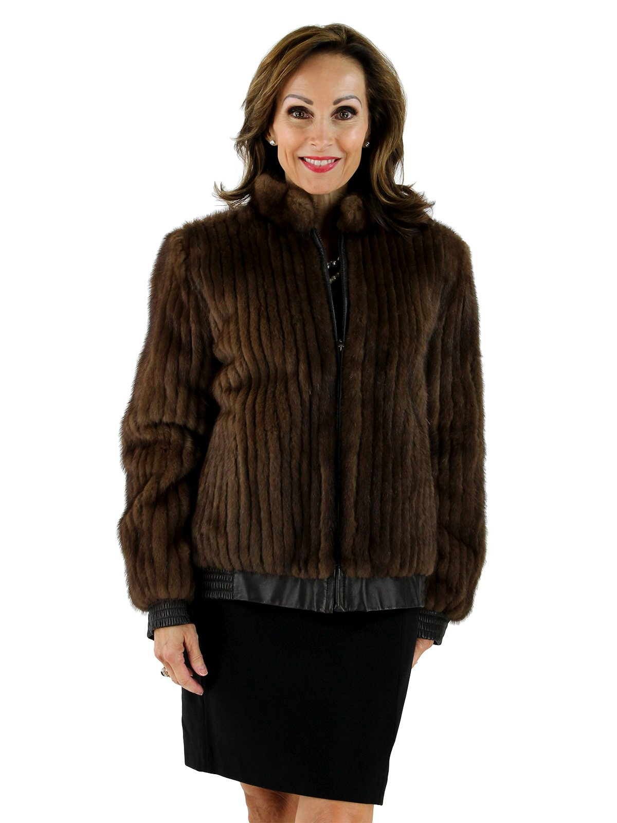 Lunaraine Corded Mink Fur Bomber Jacket