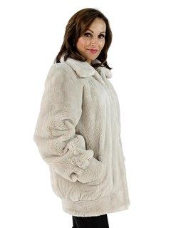 Blush Sheared Beaver Fur Jacket