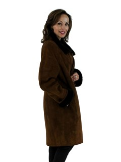 Christia Woman's Light Brown Shearling Fur Coat