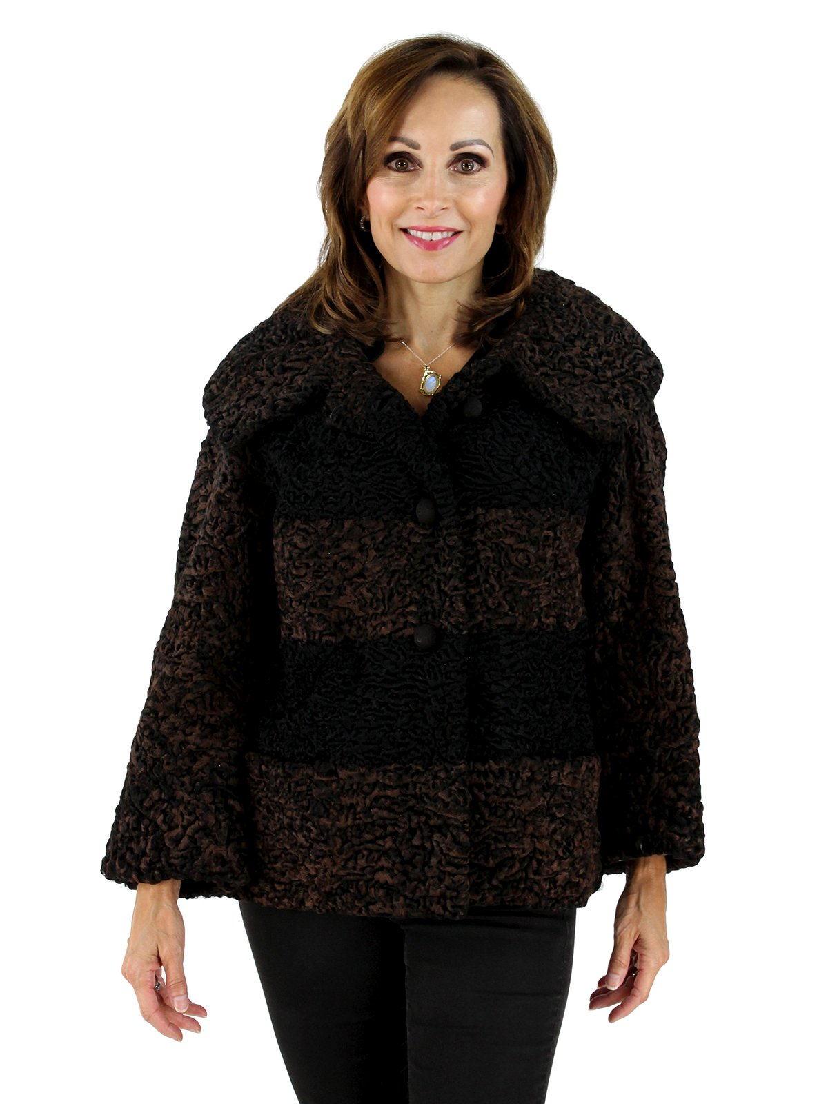 Woman's Brown and Black Persian Lamb Fur Jacket