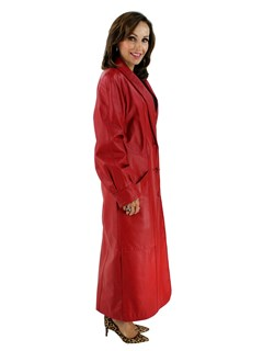 Woman's Red Leather Coat