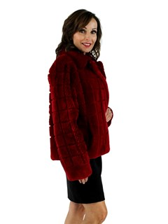 Red Sheared and Grooved Beaver Jacket