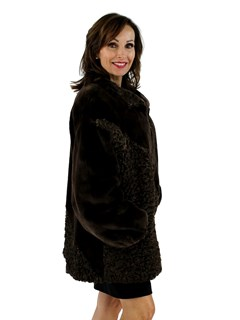 Brown Sheared Beaver Jacket with Persian Lamb