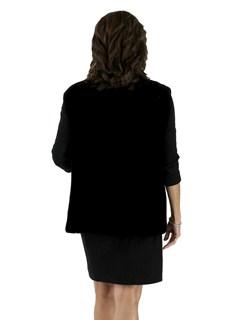 Plus Size Black Sheared Beaver Vest
