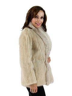 Blush Mink Fur Cord Cut Jacket with Fox