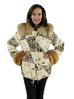 Animal Print Sheared Mink Jacket