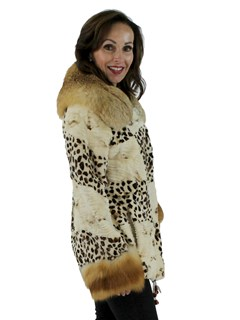 Woman's Animal Print Sheared Mink Fur Jacket