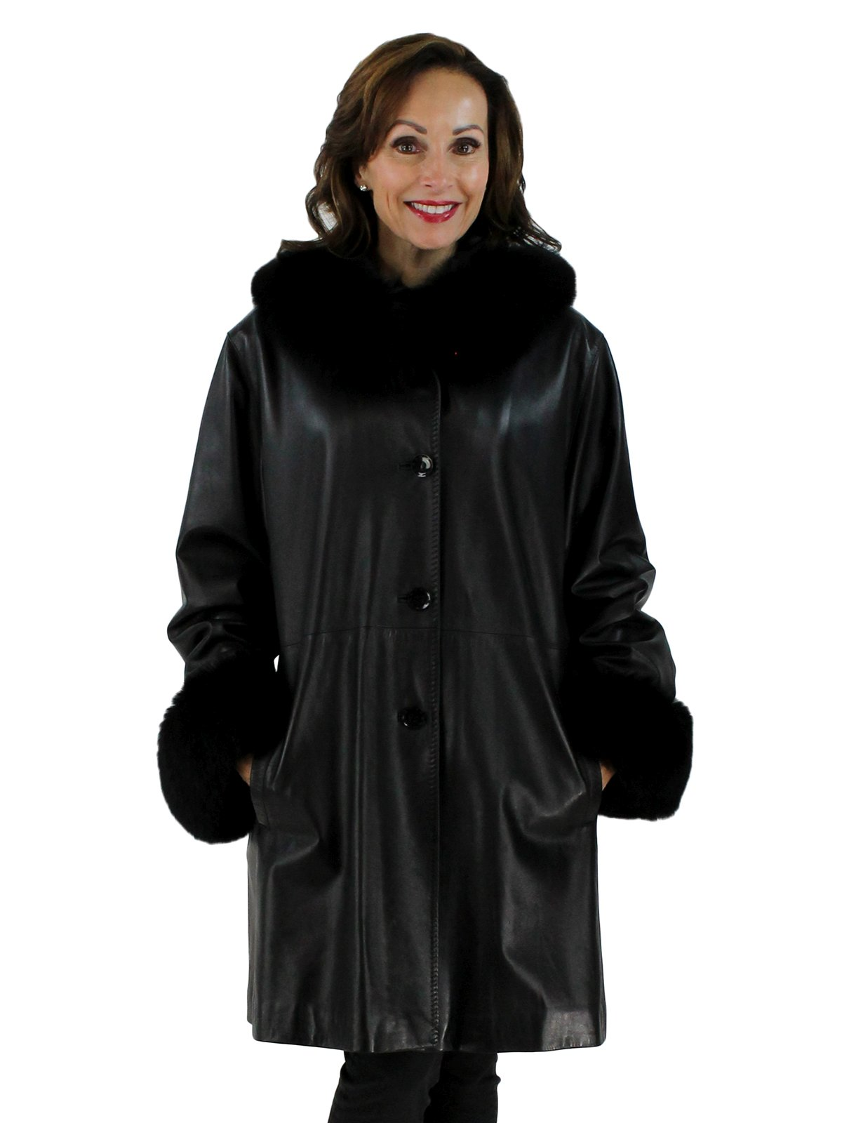 Woman's Black Leather Stroller with Fox Fur Trimmed Hood