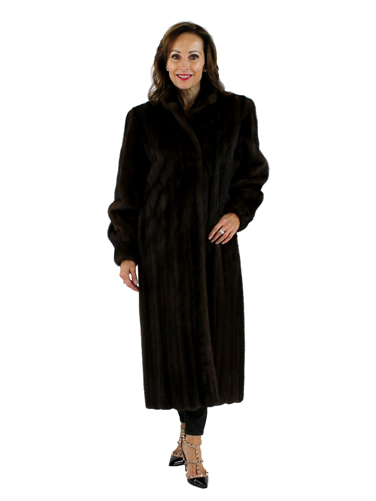 Woman's Mahogany Female Mink Fur Coat