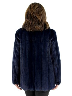 Woman's Dark Royal Blue Mink Fur Jacket