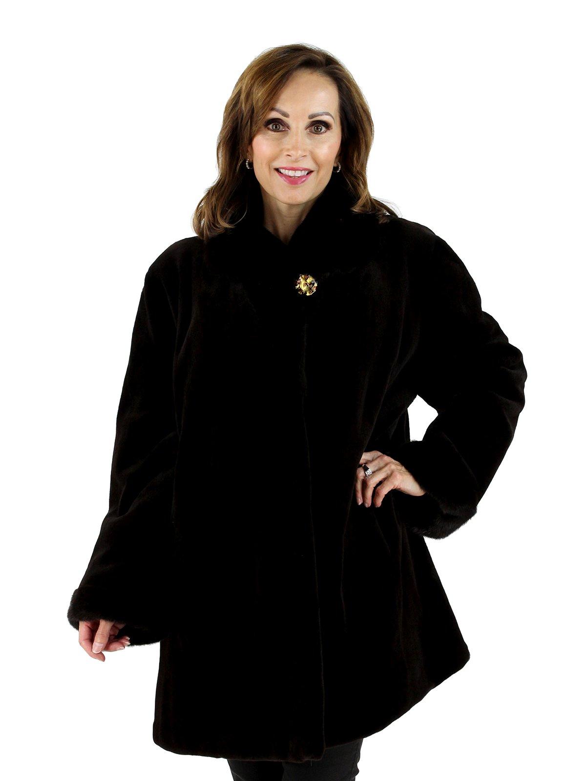 Gorski Woman's Plus Size Dark Brown Sheared Mink Fur Stroller