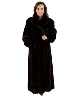 Mahogany Female Mink Coat with Sable Collar