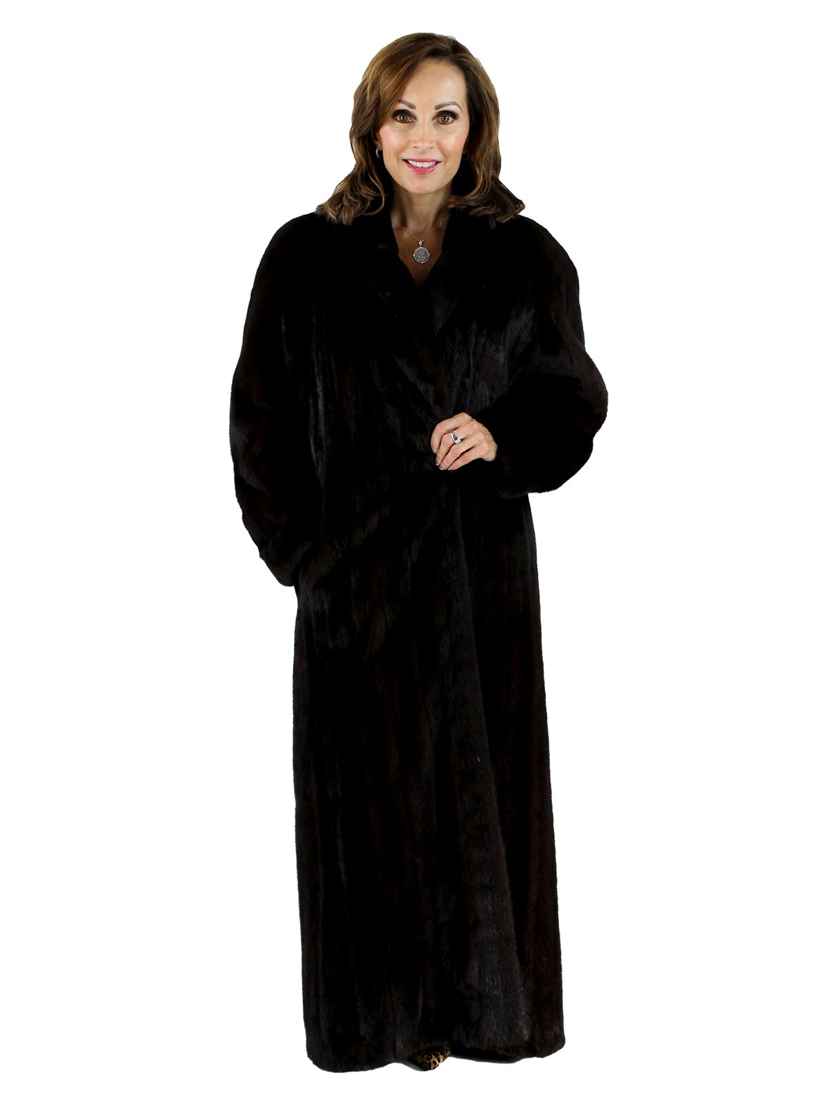 Dark Mahogany Female Mink Fur Coat