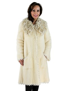 Cream Knit Mink Fur Coat with Fox Collar