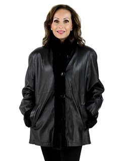Black Sheared Mink Jacket Reversible to Black Leather