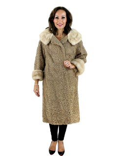 Blond Persian Lamb Coat with Mink Collar and Cuffs