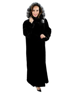 Woman's Black Sheared Mink Fur Coat with Detachable Chinchilla Trimmed Hood