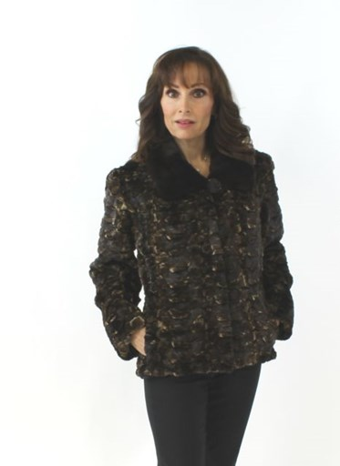 NEW Woman's Fitted Sheared Mink Fur Section Jacket