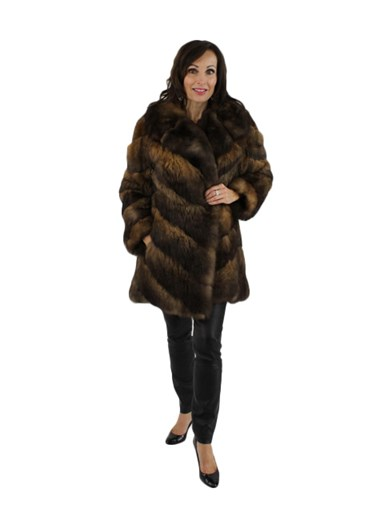 Natural Brown Opossum Fur Jacket