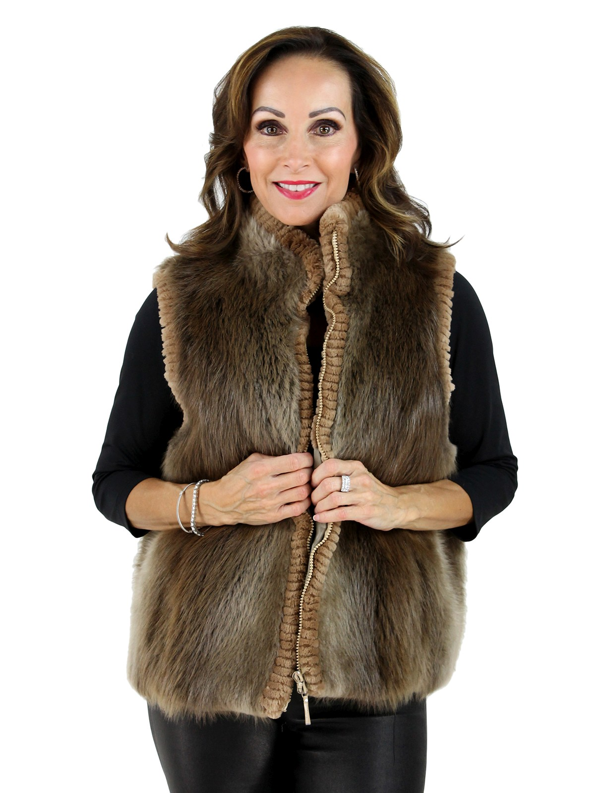 Woman's Blond Long Hair Beaver Fur Vest