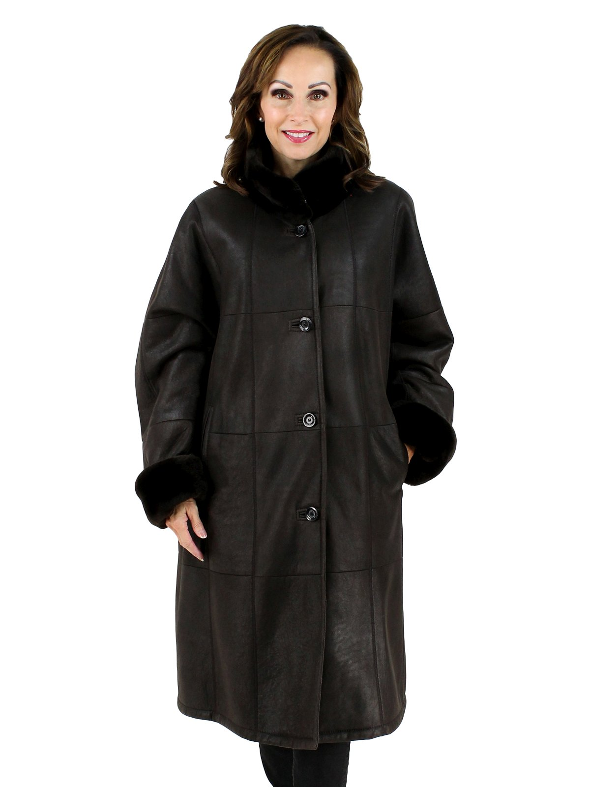 Woman's Plus Size Christ Brown Shearling Lamb Coat with Sheared Nutria Collar and Cuffs