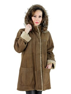 Woman's Christ Brown Shearling Lamb Stroller with Detachable Hood