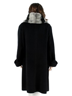Woman's Black Cashmere Blend Wool Coat