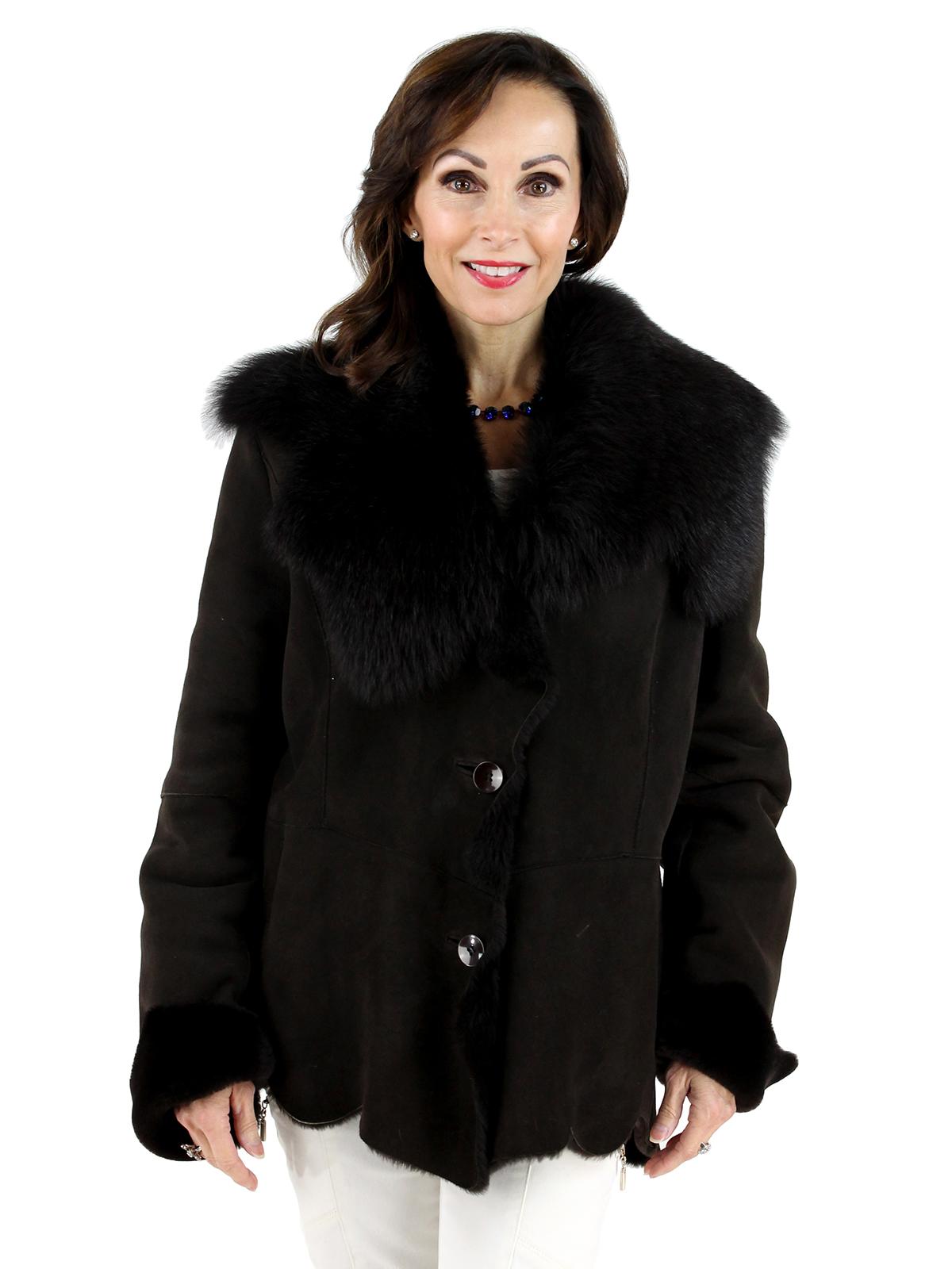 Woman's Brown Shearling Lamb Jacket