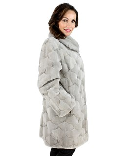Woman's Cerulean Sheared Sculptured Mink Fur Stroller