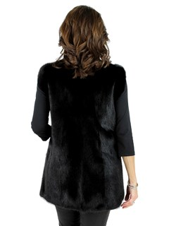 Woman's Ranch Mink Fur Vest Reversible to Leather