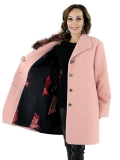 Women's Coral Pink Wool Fabric Stroller with Detachable Fox Fur Collar