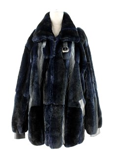 Man's Navy Blue Sheared Mink Fur Jacket with Leather Detailing
