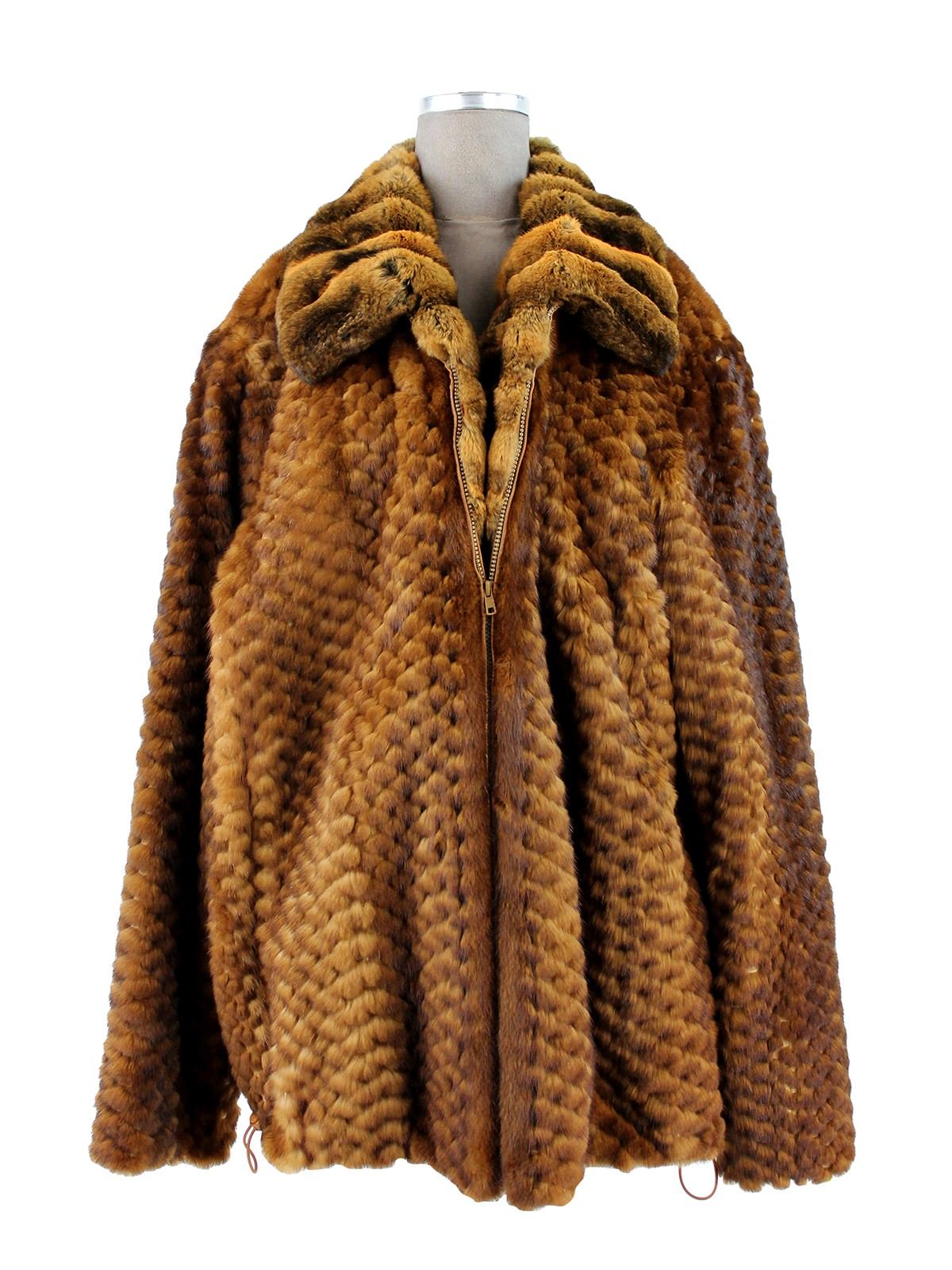 Man's Whiskey Mink Fur Jacket with Chinchilla Collar