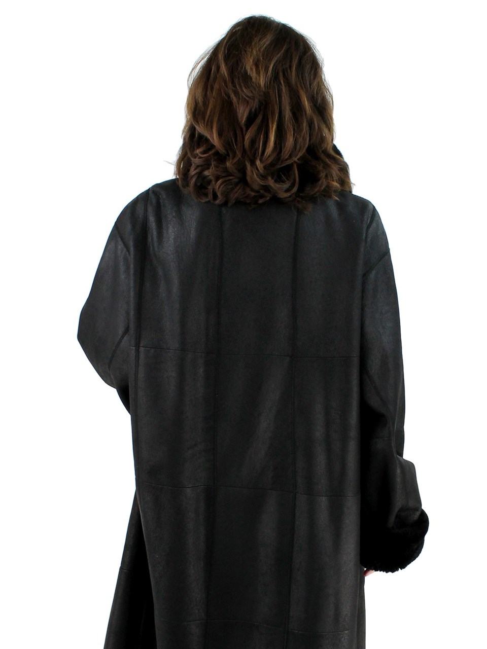 Plus Size Black Christ Shearling Lamb Coat