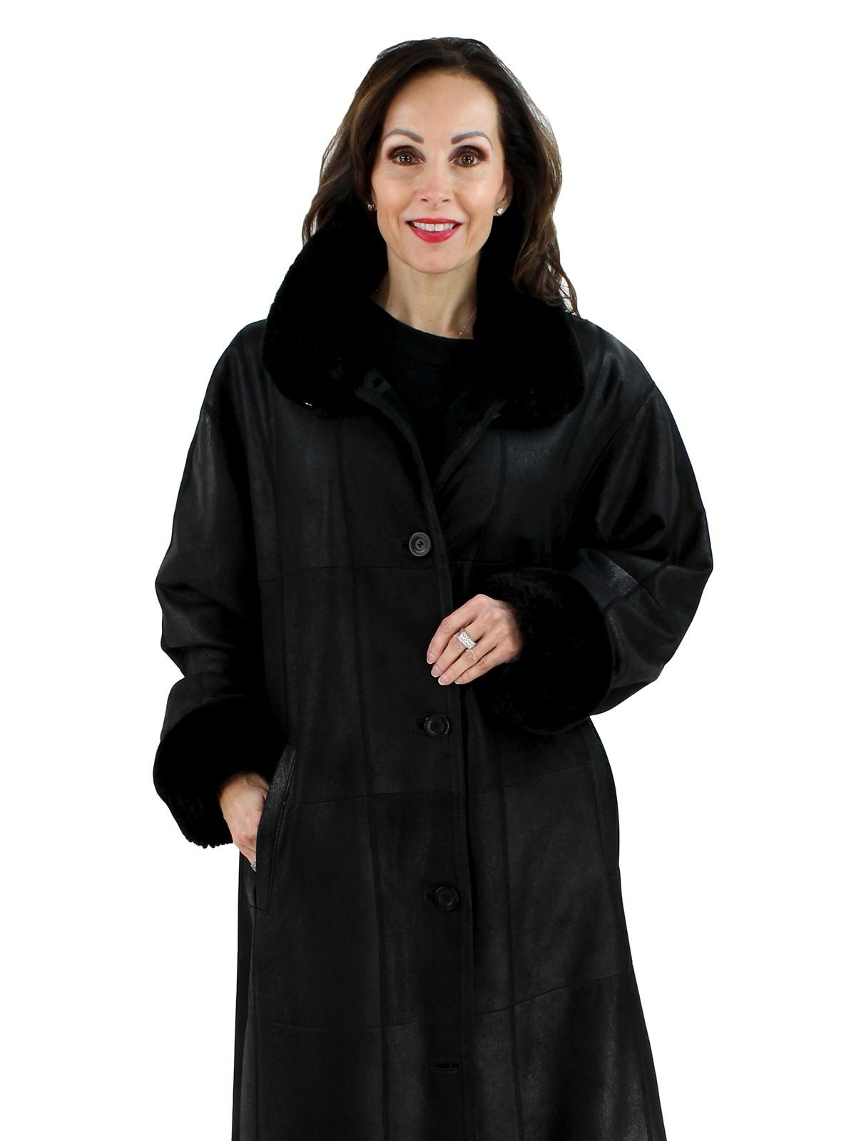 Woman's Plus Size Black Christ Shearling Lamb Coat