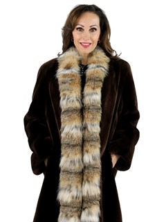 Woman's Matara Sheared Beaver Fur Stroller with Lynx Tuxedo Front
