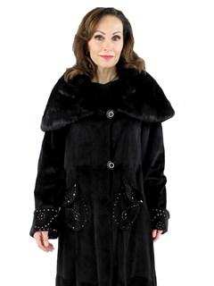 Woman's Black Sheared Mink Fur Coat with Metal Stud Embellishments