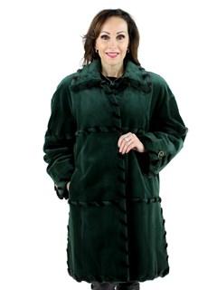 Woman's Hunter Green Sheared Mink Fur Stroller