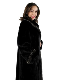 Woman's Ranch Mink Fur Coat with Blue Iris Two Tone Detail