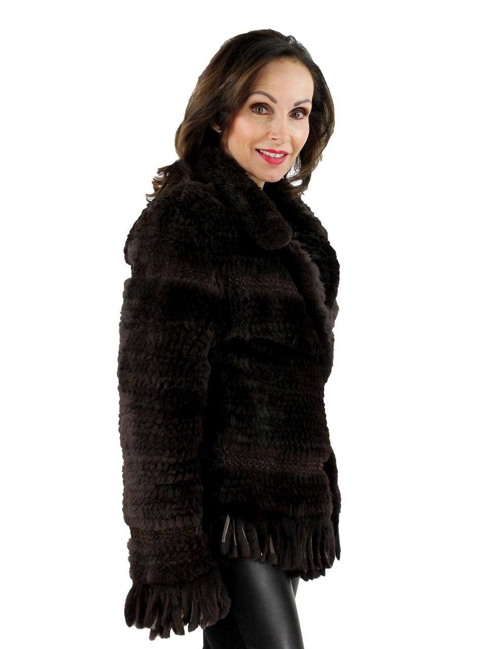 Dark Brown Rex Rabbit Knit Jacket