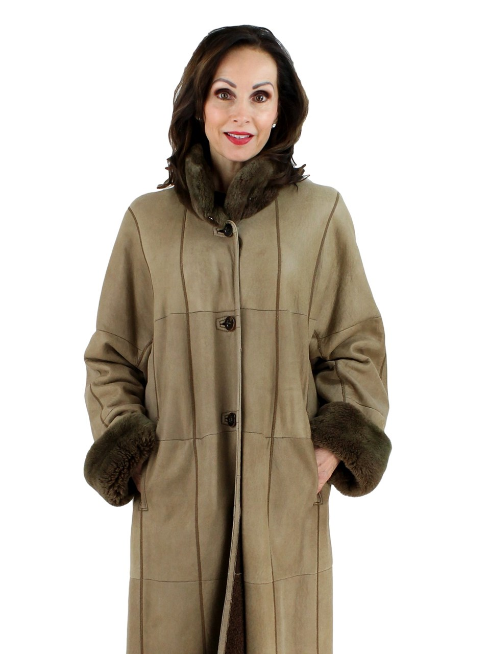 Plus Size Tan Christ Shearling Lamb Coat with Nutrea