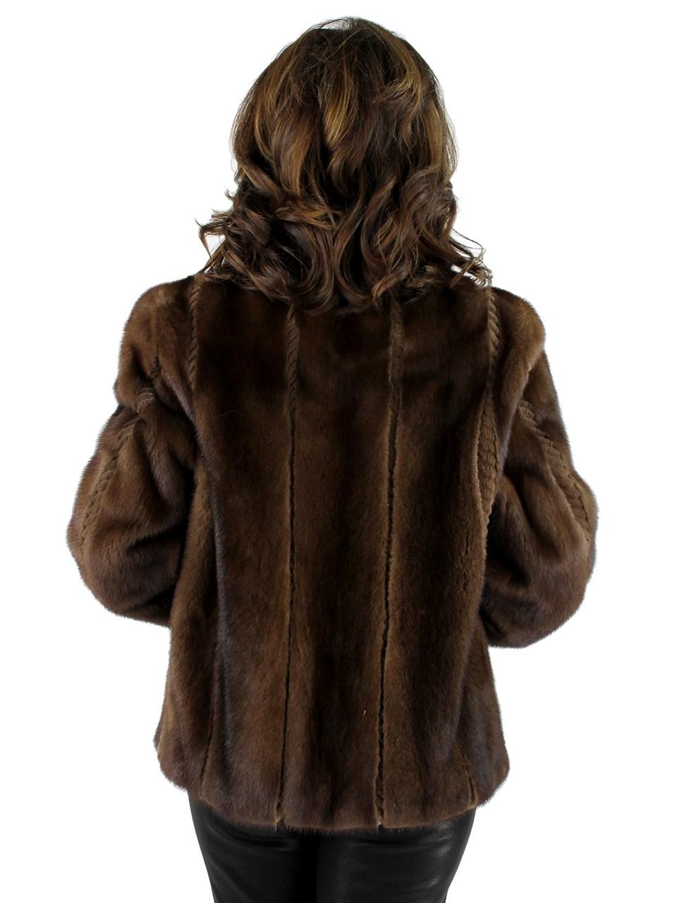 Demibuff Female Mink Jacket with Sheared Mink Details