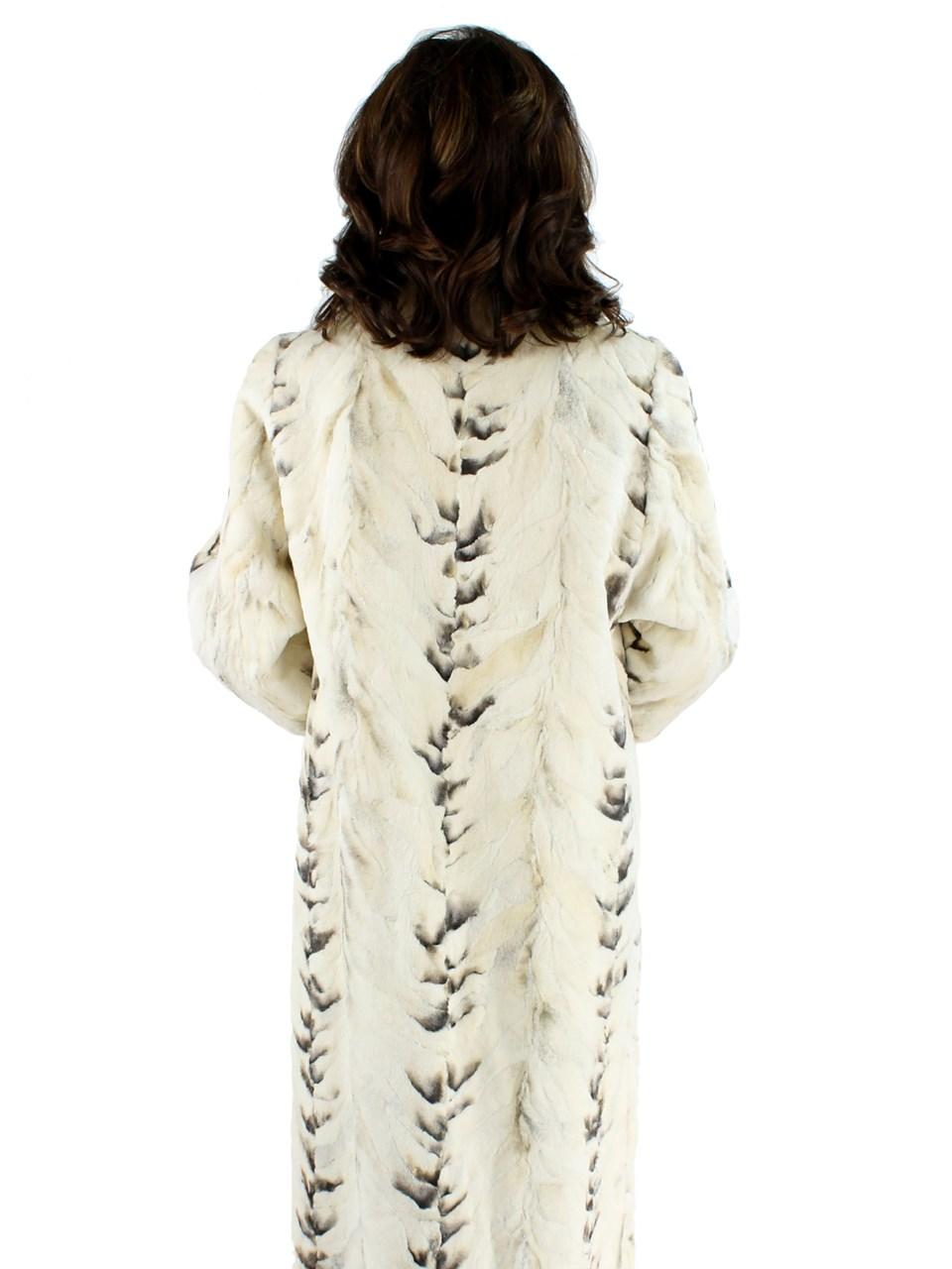 Bleached Sculptured Mink Coat with Finn Raccoon Trim
