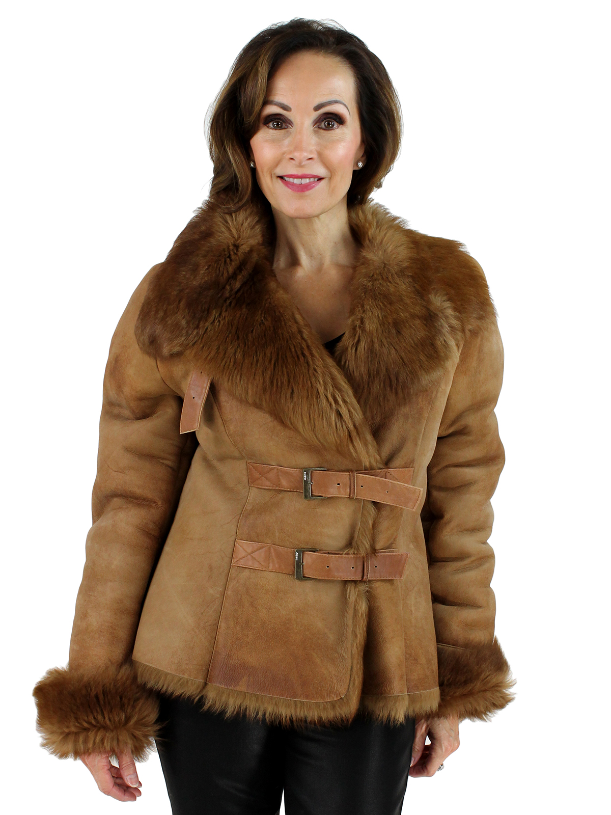 Woman's Rust Shearling Jacket with Toscana Fleece